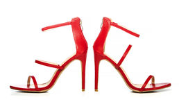 Fashionable strappy high heels sandals in red Royalty Free Stock Images