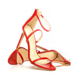 Fashionable strappy high heels sandals in red Stock Photography