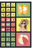 Fashionable style icons flat. Best summer Royalty Free Stock Photos