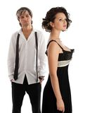 Fashionable stylish couple. Man looking on woman. Selective focus on woman. Isolated over white Stock Photo