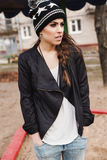 Fashionable stylish girl in black leather jacket Royalty Free Stock Images