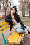 Fashionable stylish girl in black leather jacket Stock Images