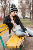 Fashionable stylish girl in black leather jacket Stock Photo