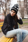 Fashionable stylish girl in black leather jacket Stock Photography