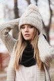 Fashionable stylish girl in black leather jacket Royalty Free Stock Photos