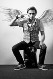 Fashionable stylish man. In angel Royalty Free Stock Image
