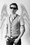 Fashionable stylish man. In angel Royalty Free Stock Photo