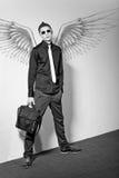Fashionable stylish man. In angel Royalty Free Stock Photos