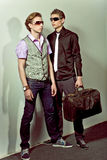 Fashionable stylish man. Two guys in stylish clothes are next to each other Stock Photos