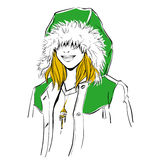 Fashionable stylish woman in winter clothes. She is wearing warm parka and big hood. Hand drawing vector illustration with black line art Stock Image