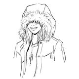 Fashionable stylish woman in winter clothes. She is wearing warm parka and big hood. Hand drawing vector illustration with black line art. Monochrome Royalty Free Stock Image