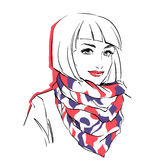 Fashionable stylish woman in winter clothes. She is wearing warm parka and big scarf on her neck. Hand drawing vector illustration with black line art Stock Photography