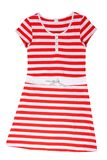 Fashionable summer clothes isolated on a white background. Red w. Hite striped summer dress. Summer fashion stock photo