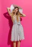 Fashionable Summer Woman Is Enjoying The Sun And Looking Away Royalty Free Stock Image