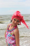 Fashionable teen girl on the beach. Portrait resort Stock Photo