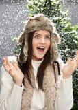 Fashionable Teenage Girl Wearing Cap And Knitwear Stock Photography