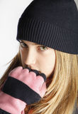 Fashionable Teenage Girl Wearing Cap And scarf Royalty Free Stock Photography