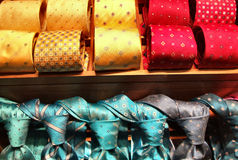 Fashionable tie shop. Rows of colorful fashionable and elegant ties. Man's wear Stock Images