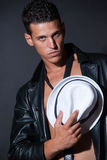 Fashionable topless male with white fedora Stock Photography