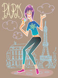Fashionable tourist in Paris eating ice cream. Youth and beauty royalty free illustration