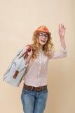 Fashionable traveller Stock Image