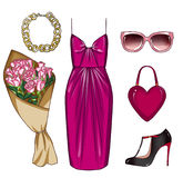 Fashionable and Trendy clothes and personal accessories with make up items Stock Images