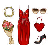 Fashionable and Trendy clothes and personal accessories with make up items Royalty Free Stock Photos