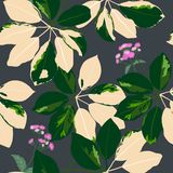 Fashionable tropical garden leaves with purple wildflowers seamless pattern on dark background vector illustration