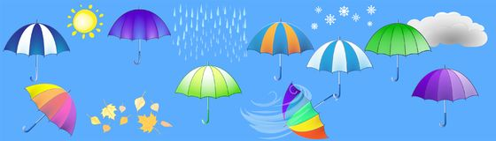 Fashionable umbrellas and weather symbols on a horizontal backgr. Fashionable umbrellas and weather symbols on an elongated horizontal blue background Stock Image
