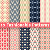 Fashionable vector seamless patterns (tiling). 10 Fashionable vector seamless patterns (tiling). Retro pink and blue colors. Endless texture can be used for stock illustration
