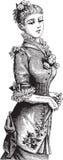 Fashionable Victorian lady vector illustration