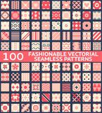 Fashionable vintage vector seamless patterns. 100 Fashionable vintage vector seamless patterns (with swatch, tiling). Retro pink, white and blue colors. Texture Vector Illustration