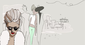 Fashionable walking girls. Vector fashion illustration with girls on the street Royalty Free Stock Image