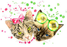 Fashionable watercolor cats isolated on white background Royalty Free Stock Photos