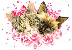 Fashionable watercolor cats  in pink roses isolated on white background Royalty Free Stock Photography