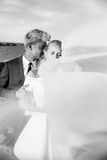 Fashionable wedding couple. Bride and Groom. Black and white photography. Outdoor portrait Stock Image