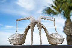 Fashionable wedding shoes Royalty Free Stock Photos