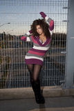 Fashionable Woman. Fashion style image of a woman on a pedestrian overpass Stock Photos