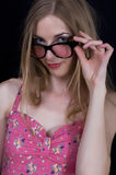 Fashionable woman. Photo of a beautiful girl with glasses Royalty Free Stock Photos