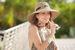 Fashionable woman with accessories stock photos
