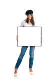 Fashionable woman advertising Stock Images