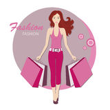 Fashionable woman with bags for buy. Shopping.  Young fashionable woman with red, long hair.   Vector illustration Stock Photos