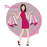 Fashionable woman with bags for buy. Shopping . Young fashionable woman .  Vector illustration Royalty Free Stock Image