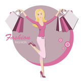 Fashionable woman with bags for buy. Shopping. Young fashionable woman.  Vector illustration Royalty Free Stock Photography
