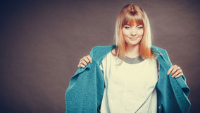 Fashionable woman in blue coat Stock Photography