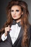 Fashionable woman with bow-tie Stock Photos