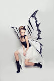 Fashionable Woman Butterfly Stock Photography