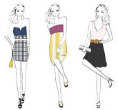 Fashionable woman in different poses. Royalty Free Stock Photo