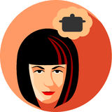 Fashionable woman dreams about cooking. Flat Style.The girl brun Royalty Free Stock Photography