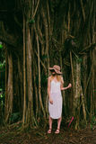 Fashionable woman on edge of rain forest  Royalty Free Stock Image